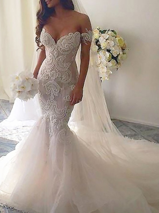 Appliques Off-The-Shoulder Mermaid Wedding Dress 2019
