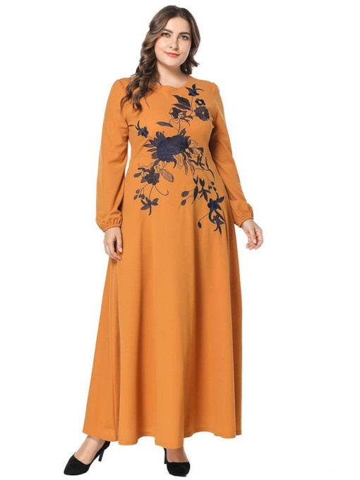 Plus Size Embroidery Long Sleeve Floral Women's Maxi Dress