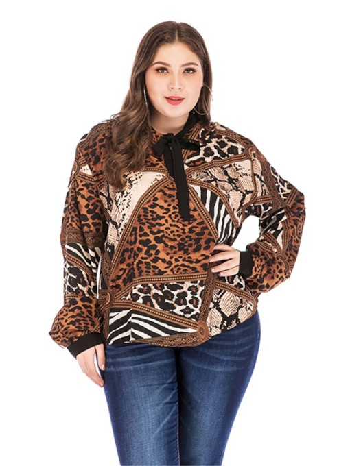 Color Block Lantern Sleeve Bowknot Leopard Plus Size Women's Blouse