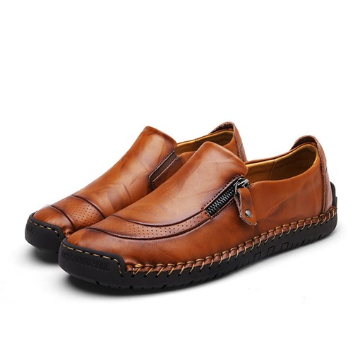 Low-Cut Upper Zipper Plain Round Toe Men's Loafers