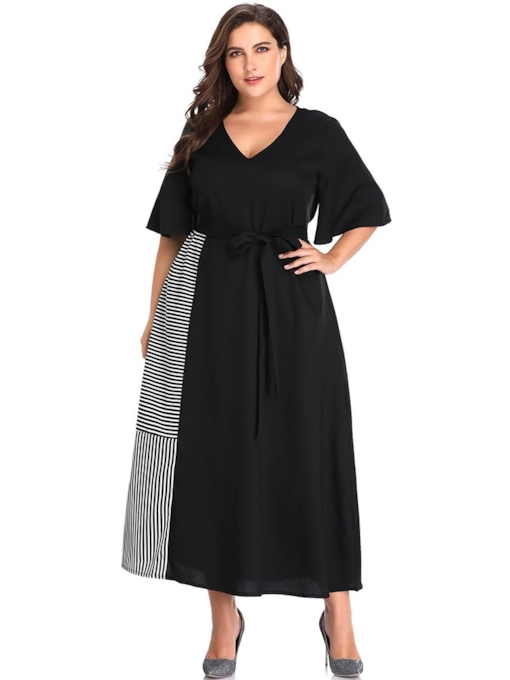 V-Neck Half Sleeve Patchwork A-Line Women's Maxi Dress