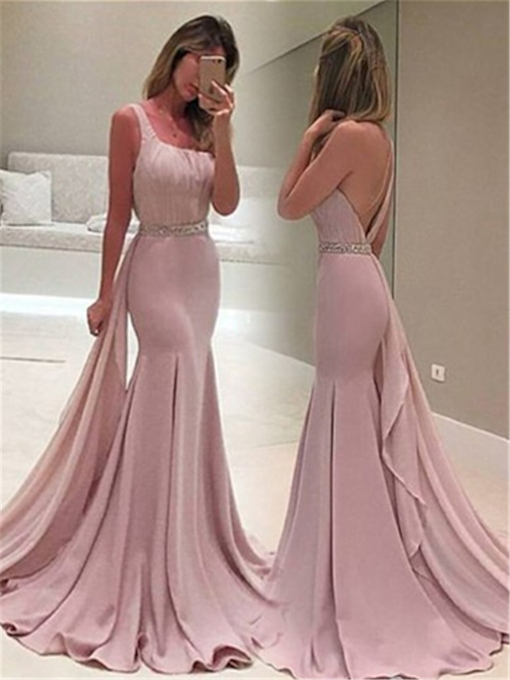 Floor-Length Sleeveless One Shoulder Trumpet Prom Dress 2019