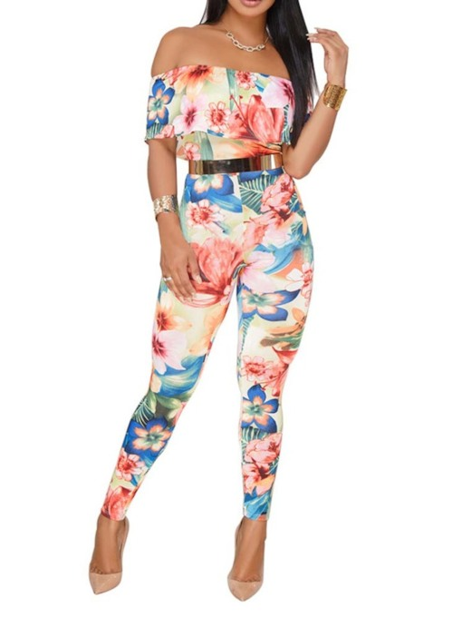 Plus Size Floral Print Full Length High-Waist Women's Jumpsuit