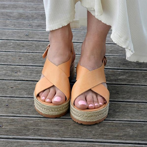 Flat Heel Buckle Open Toe Western Espadrille Women's Sandals