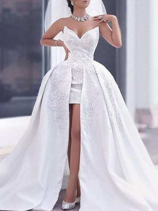 Watteau Train Appliques Wedding Dress 2019