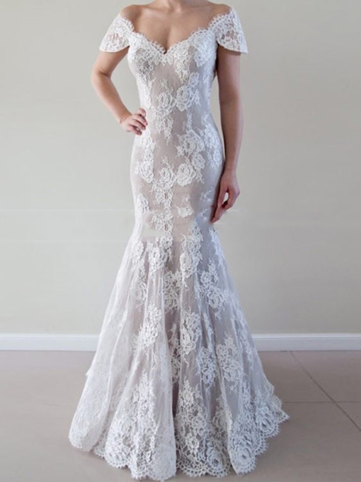 V-Neck Cap Sleeves Lace Wedding Dress 2019