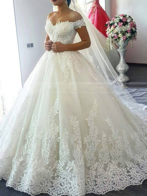 Off the Shoulder Appliques Ball Gown Wedding Dress 2019