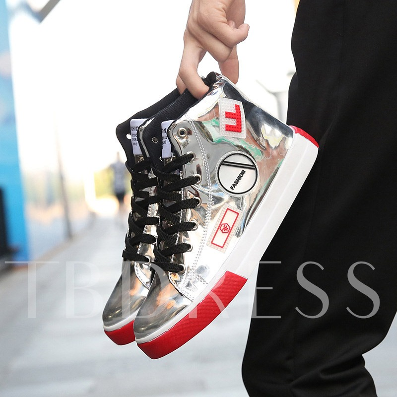 Flat Metallic High-Cut Upper Lace-Up Round Toe Men's Sneakers