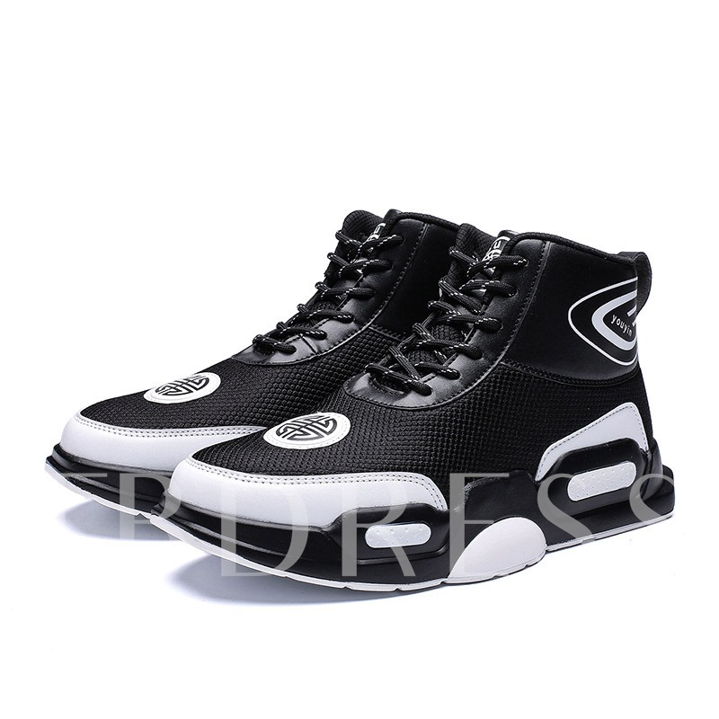 High-Cut Upper Lace-Up Flat With Round Toe Men's Sneakers