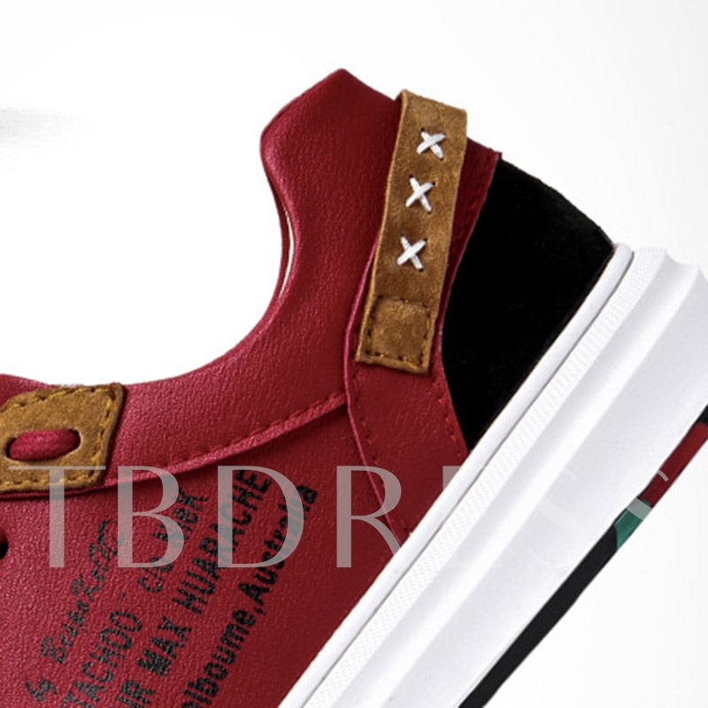 Flat Low-Cut Upper Patchwork Lace-Up Round Toe Skate Shoes