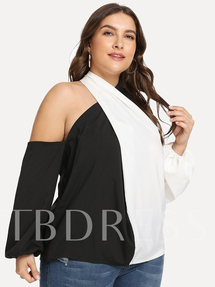 Color Block Cold Shoulder Plus Size Women's Blouse