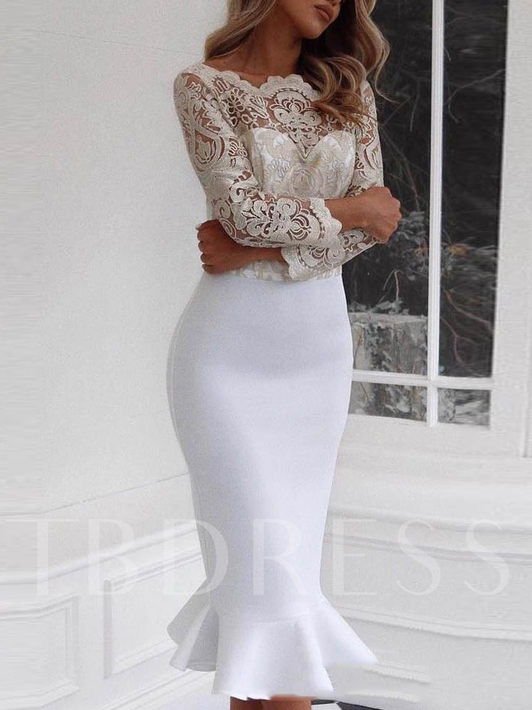 Long Sleeve Patchwork See-Through Women's Sheath Dress