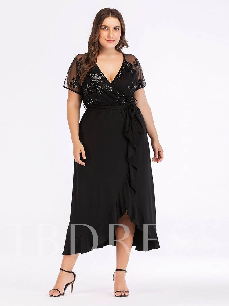 Plus Size Short Sleeve Lace-Up V-Neck Women's Maxi Dress