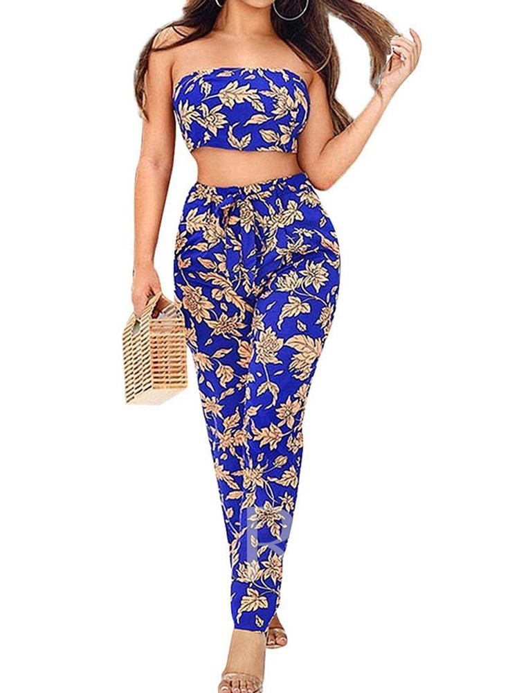 Casual Pants Lace-Up Floral Straight Women's Two Piece Sets