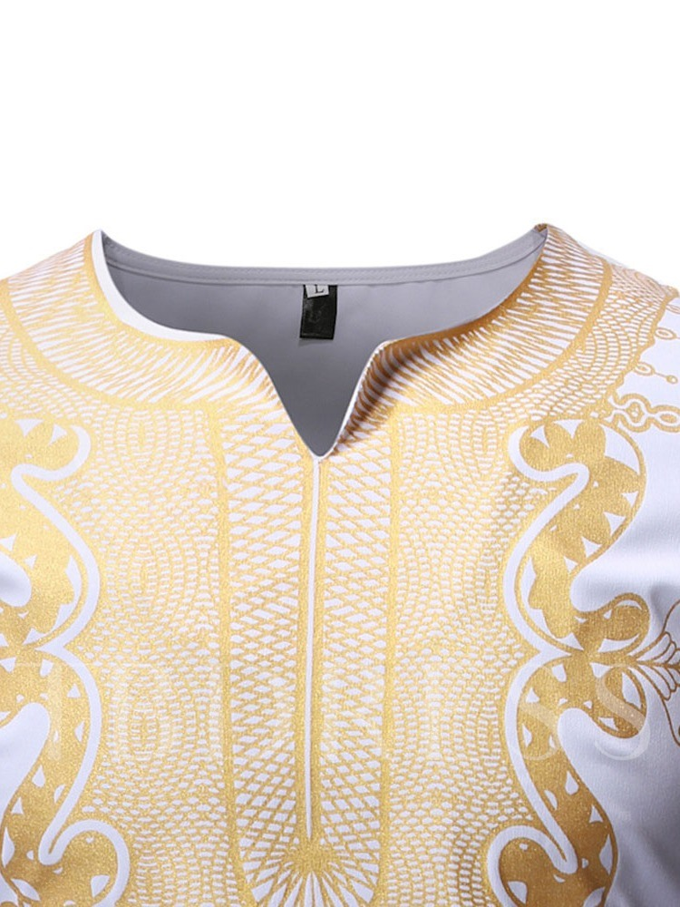 African Ethnic Style Print Long Sleeve Men's T-shirt