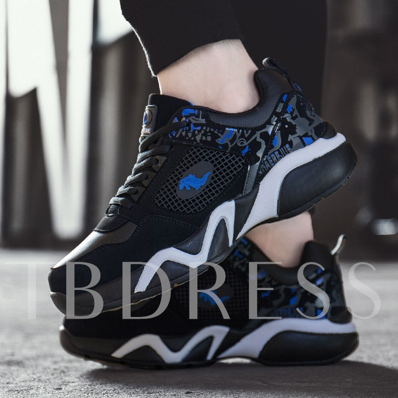 Mid-Cut UpperMesh Lace-Up Round Toe Men's Sneakers