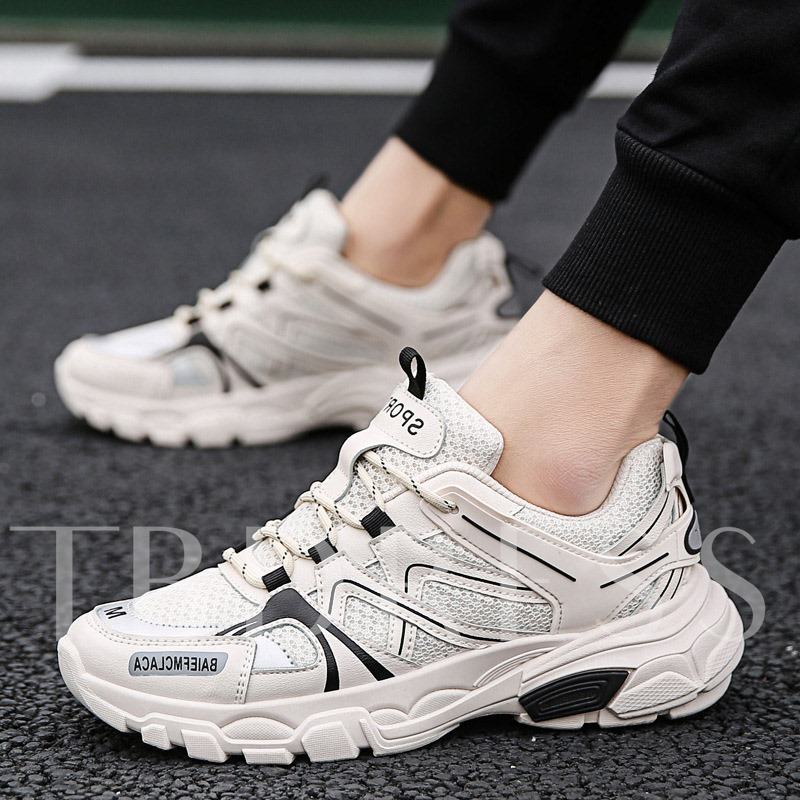 Flat Lace-Up Round Toe Outdoor Sneakers for Men