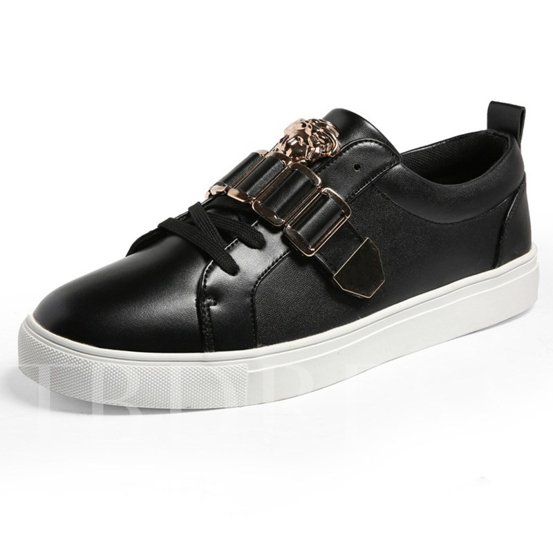 Low-Cut Upper Flat Lace-Up Round Toe Men's Skate Shoes