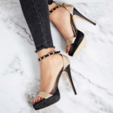 Rhinestone Platform Rivet Line Buckle Women's High Heels