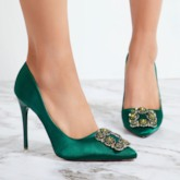 Banquet Prom Shoes Rhinestone Slip-On Women's Kelly Green Pumps
