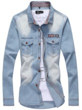 Worn Lapel Casual Plain Men's Denim Shirt