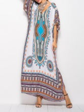 Half Sleeve Split Prints Women's Maxi Dress
