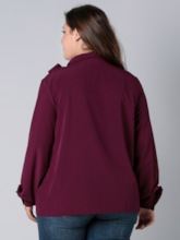 Bowknot Lantern Sleeve Plain Plus Size Women's Blouse