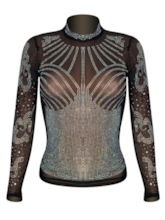 Stand Collar Rhinestone See-Through Women's T-Shirt