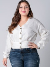 Plain Lantern Sleeve V-Neck Button Plus Size Women's Blouse