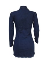 Button Bodycon Single-Breasted Women's Long Sleeve Dress