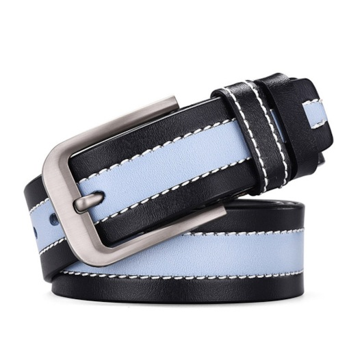 Fashion Color Block Pin Buckle PU Leather Men's Belts