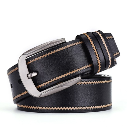 Fashion Pin Buckle Embossed PU Leather Men's Belts