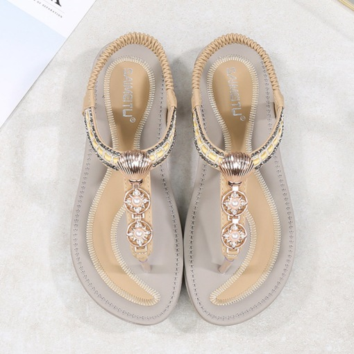 Elastic Band Thong Rhinestone Flat Sandals