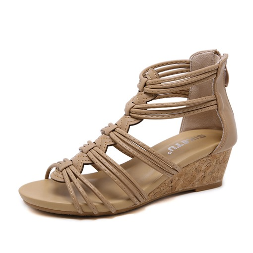 Wedge Heel Open Toe Zipper Heel Covering Platform Sandals