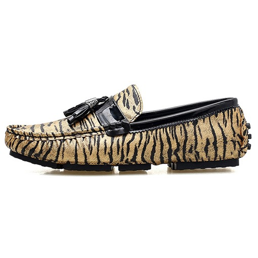 Zebra Flat Heel Slip-On Low-Cut Upper Round Toe Men's Loafers