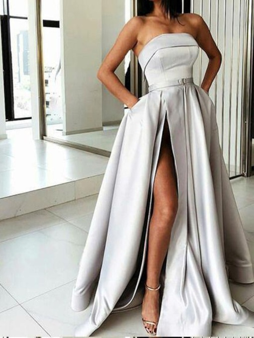 A-Line Sleeveless Floor-Length Strapless Prom Dress 2019