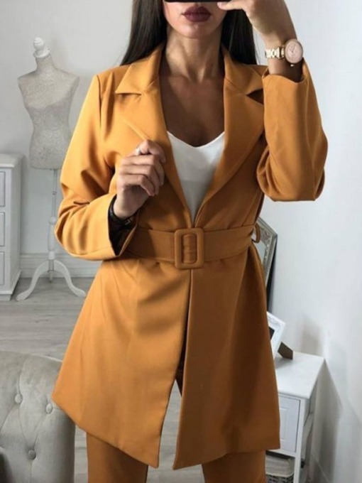 Notched Lapel Plain Belt Women's Casual Blazer