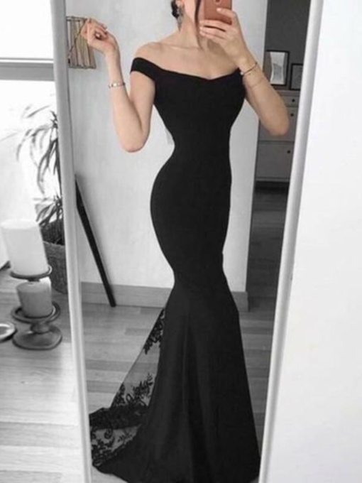Floor-Length Off-The-Shoulder Sweep Train Sleeveless Evening Dress 2019