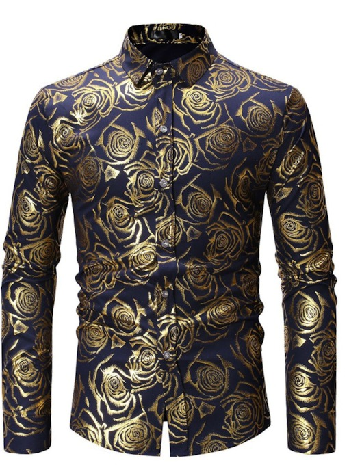 African Fashion Casual Print Floral Lapel Men's Shirt