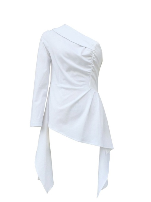 Plain Oblique Collar Asymmetric Long Sleeve Women's Blouse