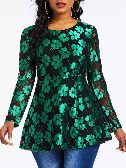 Lace Floral Hollow Tunic Mid-Length Women's Blouse