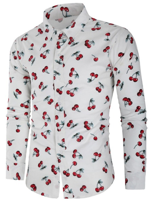Cherry Print Casual Lapel Single-Breasted Men's Shirt