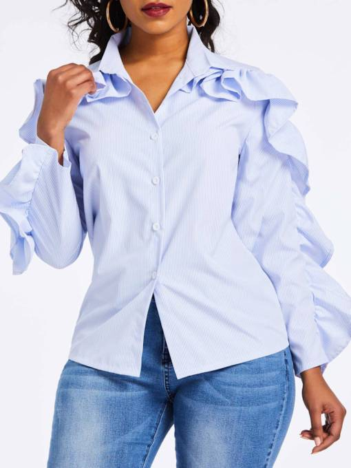 Slim Lapel Stripe Falbala Women's Shirt