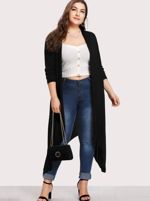 Asymmetric Plain Plus Size Women's Cardigan