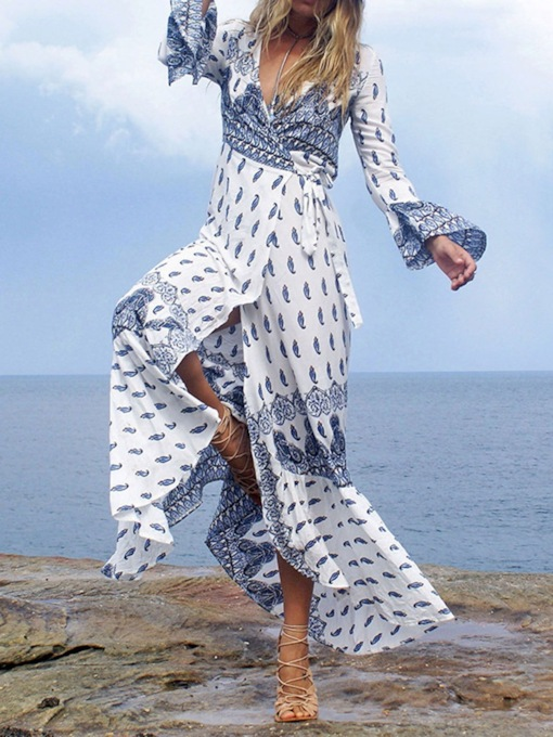 V-Neck Split Long Sleeve Prints Women's Maxi Dress