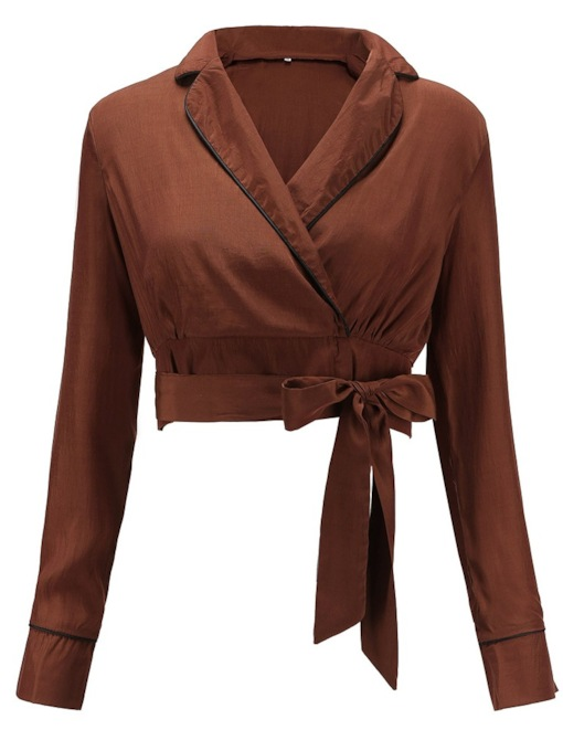 Notched Lapel Lace-Up Cropped Women's Blouse
