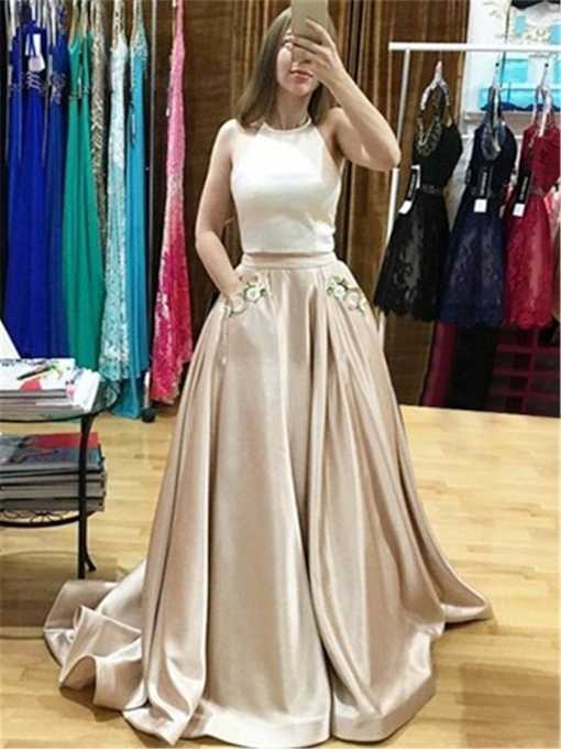 Pockets Floor-Length Halter A-Line Prom Dress 2019