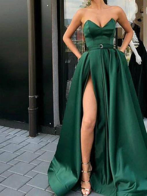 Split-Front Belt Pockets Prom Dress 2019