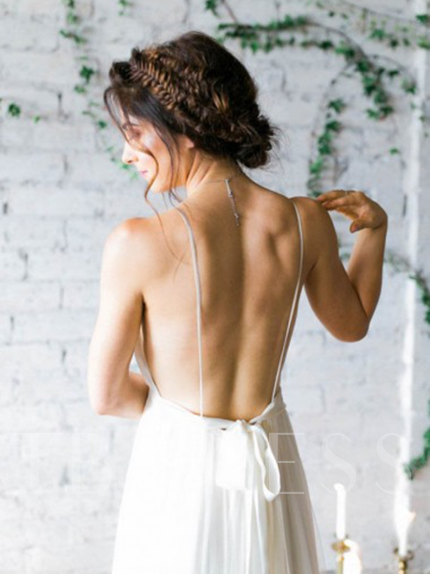 Spaghetti Straps Backless Beach Wedding Dress 2019