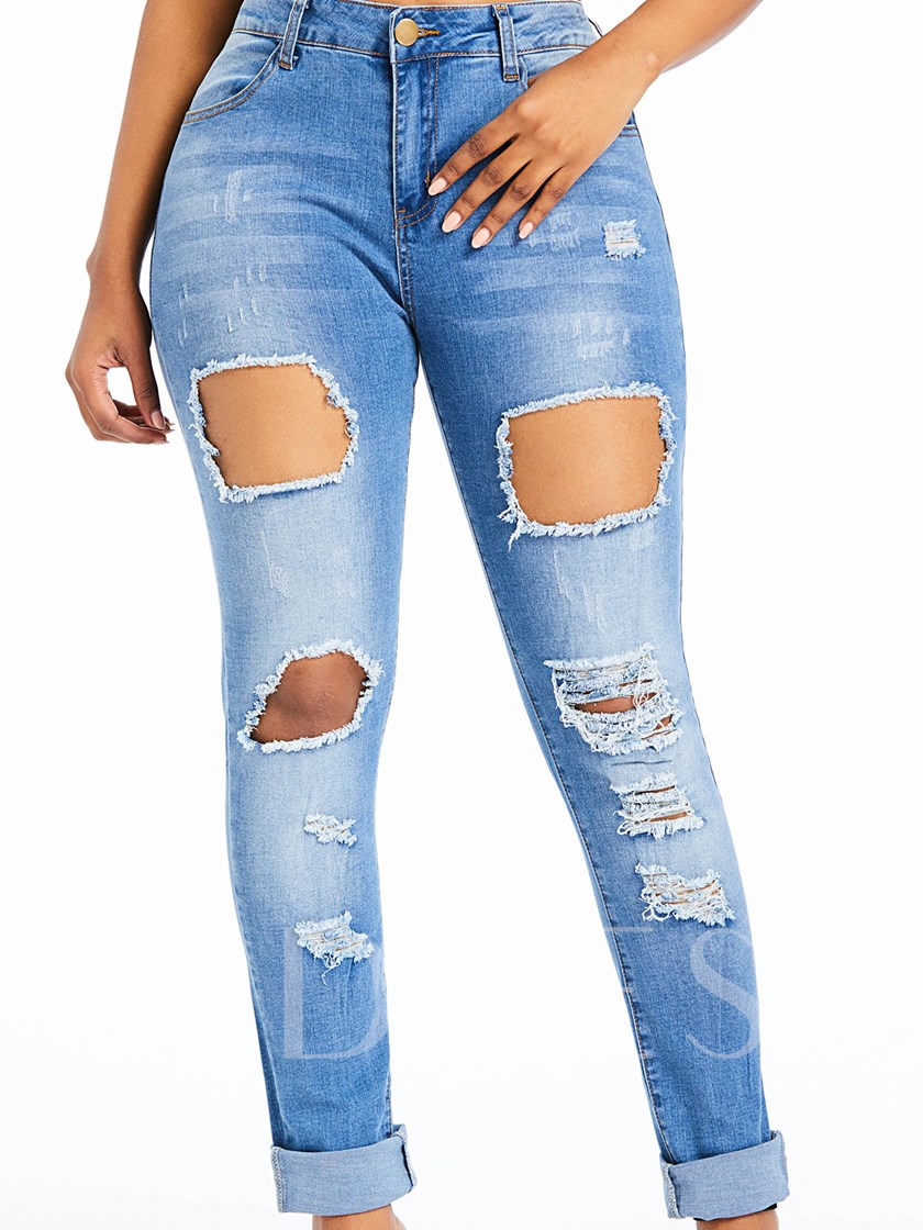 Ripped Bleach Wash Skinny Jeans